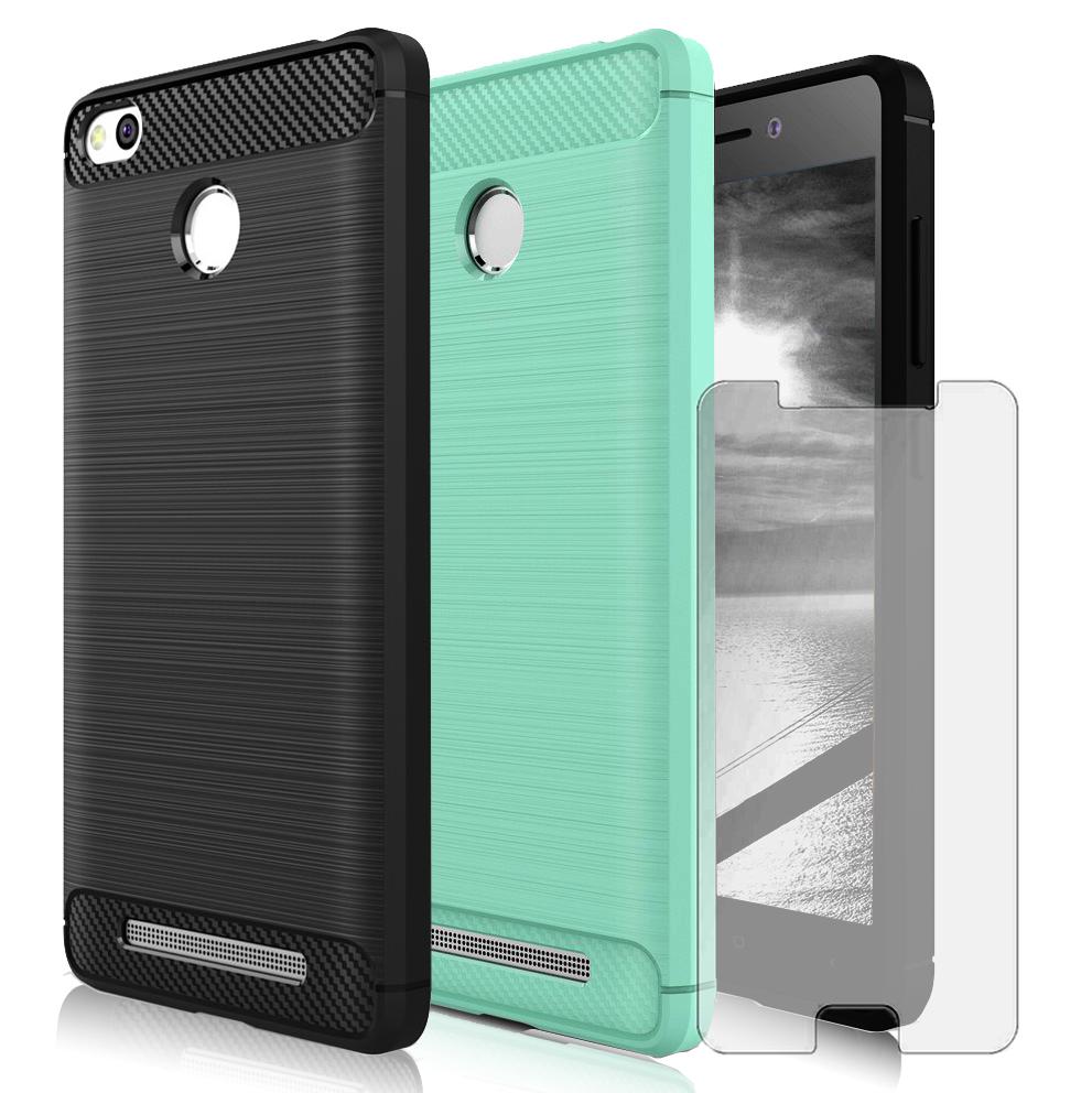 Case Xiaomi Redmi 4 Prime Original Carbon Slim Armor Dark Blue Free Tempered Glass Tpu For 3s With Color Choice